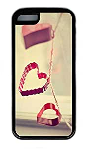 iPhone 5C Case, Personalized Protective Rubber Soft TPU Black Edge Case for iphone 5C - Red Love Cover