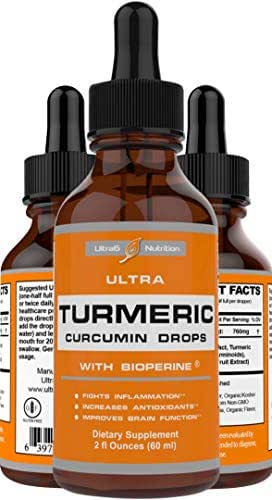Turmeric Curcumin with Bioperine Drops offering Best Absorption. 100% Turmeric with Black Pepper for Back Pain Relief, Neck Pain Relief, Joint Support & is an Amazing Anti Inflammatory Supplement