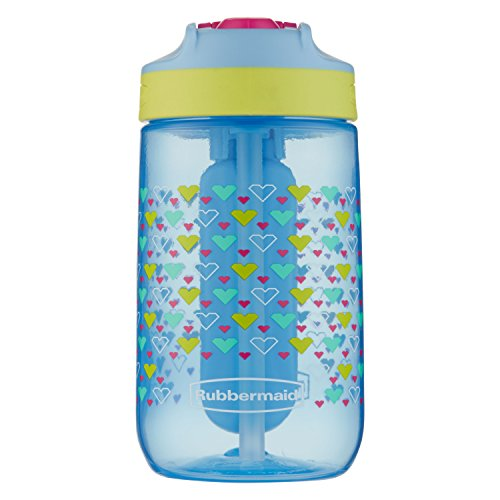 Rubbermaid Leak-Proof Sip Kids Water Bottle with Blue Ice Stick, 12 oz, Tiny Hearts Graphic
