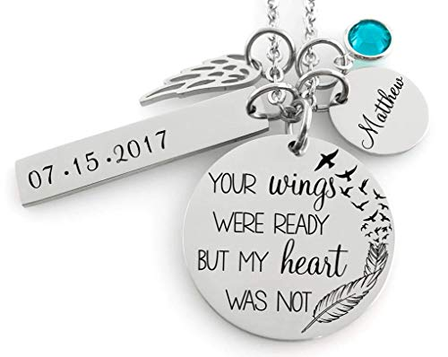 (Memorial Jewelry Necklace - Your wings were ready but my heart was not- Name Disc, Angel Wing & Birthstone Crystal)