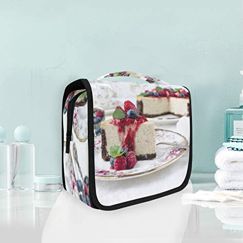 Makeup Bag Cosmetic Storage Bag Pastry Berry Cake Cheesecake Dessert Fruit Toiletry -