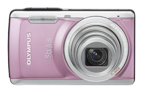 Olympus Stylus 7040 14 MP Digital Camera with 7x Wide Angle Dual Image Stabilized Zoom and 3.0 inch LCD (Pink) (Old Model)