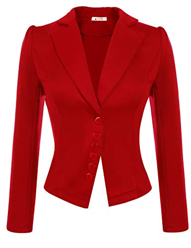ACEVOG Womens Long Sleeve Solid Casual Work Office Slim One Button Short Blazer