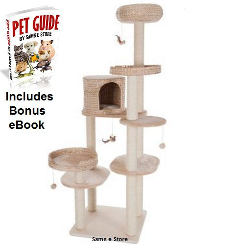 Large Cat Tree Activity Tower Woven Wicker Cushioned Plush Platforms Den Bed Dangling Toys Sisal Covered Posts Suitable for homes with large cat breeds and more than one cat