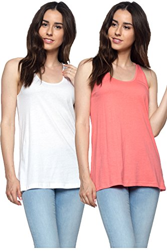 (OSSAMI Tank Tops for Women Loose Fit Relaxed Flowy Workout Yoga Running Shirt Tee_Wht Coral_L)