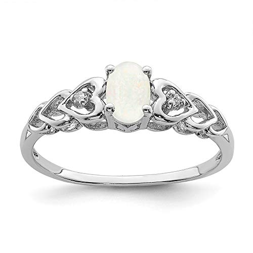 Opal Cocktail Diamond Ring - Mia Diamonds 925 Sterling Silver Solid (.02cttw) Simulated Opal and Diamond Ring