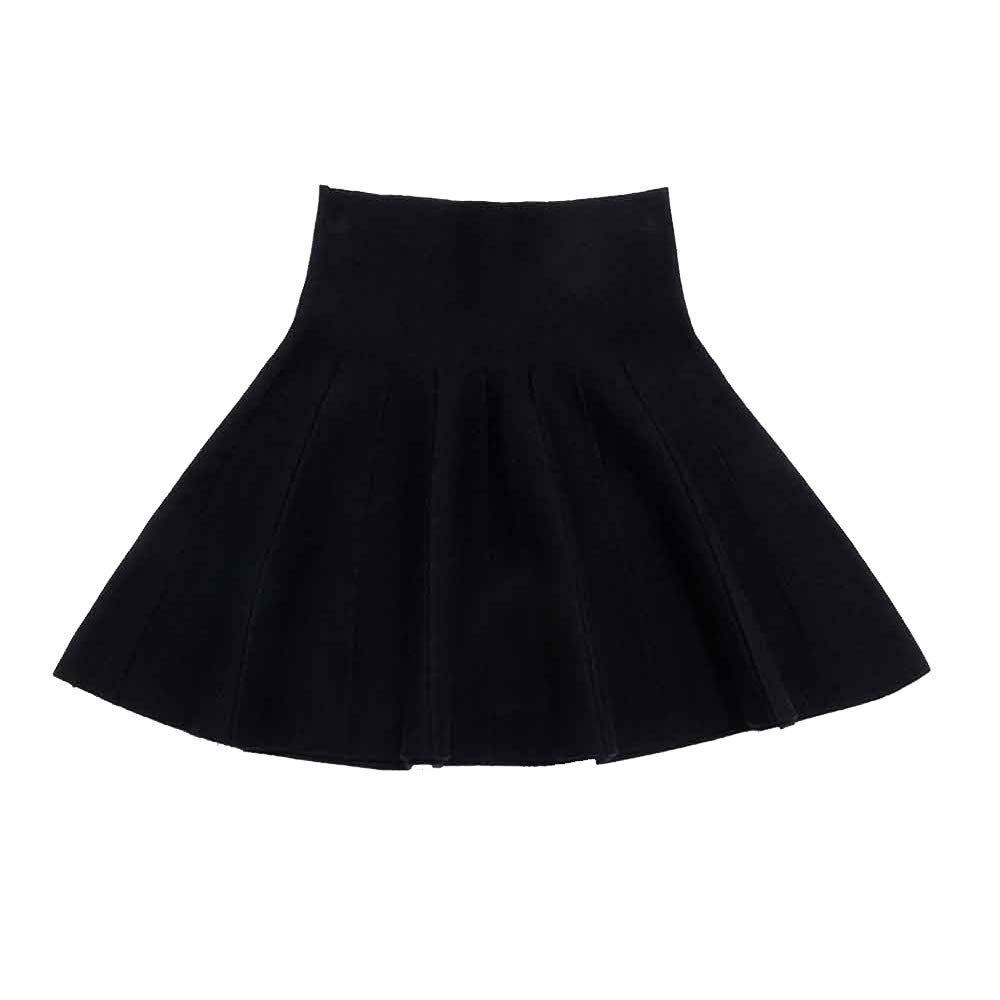 Little Big Girls High Waist Knitted Flared Pleated Skater Skirt Casual Black Tag 120 (5-6 Years)