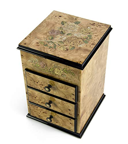 Gorgeous 18 Note Bijoux Armoire with Roses Inlay Musical Jewelry Box - Over 400 Song Choices - English Country Garden