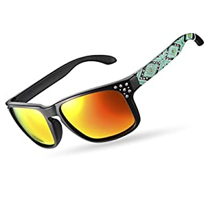 RockBros Polarized Sunglasses for Women Men UV Protection Square Glasses Beset with Crystal Black Green