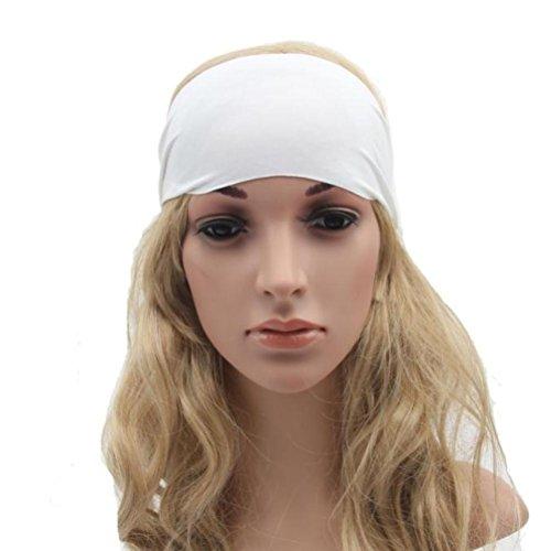 DEESEE(TM) Wide Yoga Headband Boho Headband Running Headband Womens Hair Accessories (White) (Metal Dreadlock Comb)