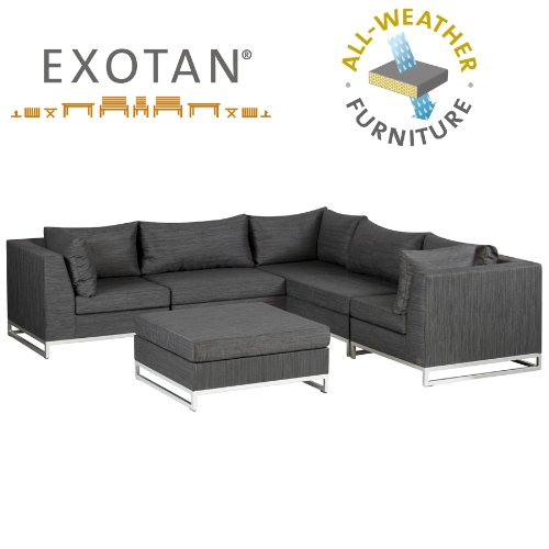 exotan outdoor ibiza lounge sitzgruppe 6 teilig schwarz bestehend aus 3x eckmodul 2x. Black Bedroom Furniture Sets. Home Design Ideas