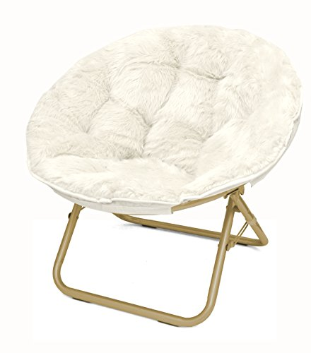 Urban Shop Faux Fur Saucer Chair with Metal Frame, One Size, White ()