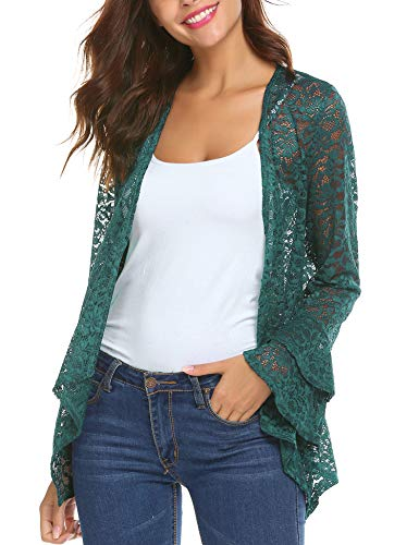 - Deawell Bell Sleeve Lace Cardigans Women for Evening Party Dress Open Front Assymetrical Kimono Jacket (Green, XX-Large)