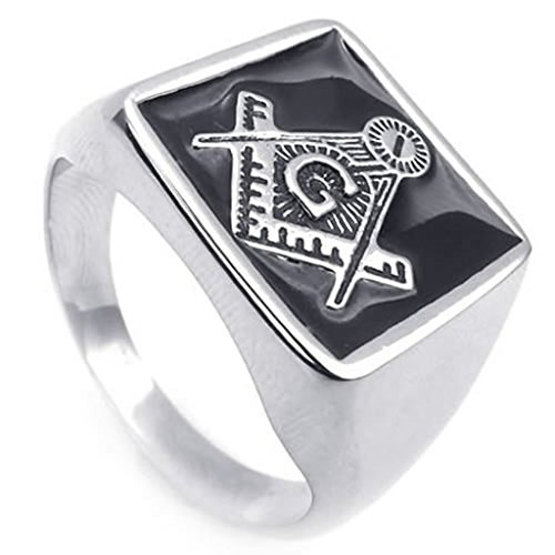 Beydodo Stainless Steel Ring (Punk Bands) Embossed Stamped Freemason Masonic Silver Size 9 For - Sterling Finish Platinum Antique Silver