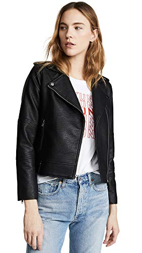 cupcakes and cashmere Women's Vivica Washed Vegan Leather Moto Jacket, Black Extra Small ()