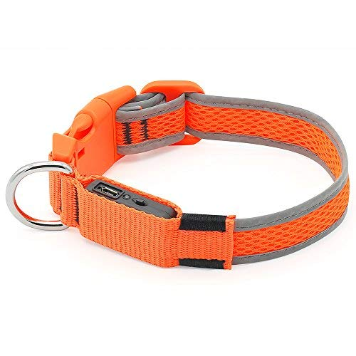 Ezier LED Dog Collar, USB Rechargeable Glowing Pet Collar Lights, Adjustable Mesh Flashing Dog Necklaces to Keep Your Dogs Visible(M, Orange)