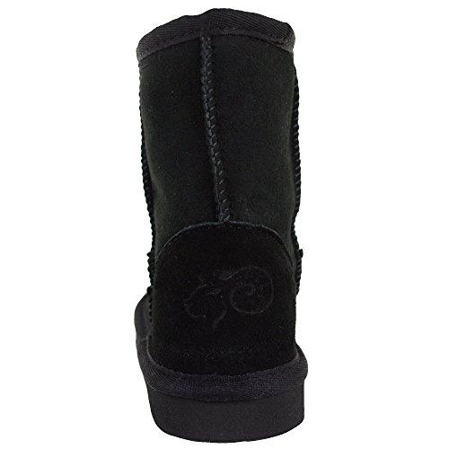 Bushga Kinder Echtes Schaffell Stiefel mit Verstärkte Ferse von (Schwarz, Schokolade Braun, Kastanie, Grau, Pink), Schwarz - Schwarz - Größe: 31 EU Kinder