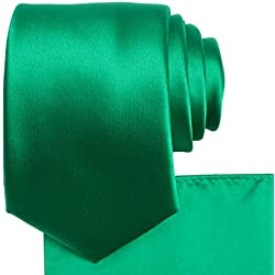 KissTies Emerald Green Tie Set Satin Wedding Ties + Pocket Square + Gift Box