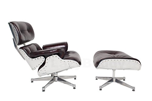 Mid Century Modern Classic Aluminum Aviator Lounge Chair & Ottoman With Premium Brown Vintage Top Grain Leather Eames Style Replica - Drexel Furniture