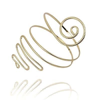 Cheap TUSHUO Filigree Gypsy Swirl Snake Arm Cuff Wire Armlet Armband Stretchy Bangle Bracelet free shipping