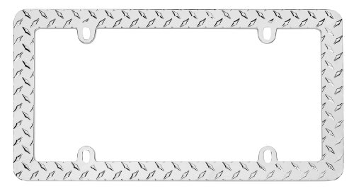 Cruiser Accessories 30830 Diamond Plate, Chrome License Plate Frame