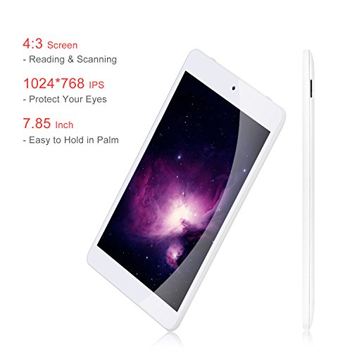 "7.85"" Tablet Android Google 7.0, 1GB/16GB, 1.3gHz Quad Core,768x1024 IPS HD Display,Dual Camera, Microsoft Mini HDMI Bluetooth G-Sensor Supported,GMS Certified,iRULU eXpro 5 S Tablet (X5 S)-White by iRULU (Image #5)"