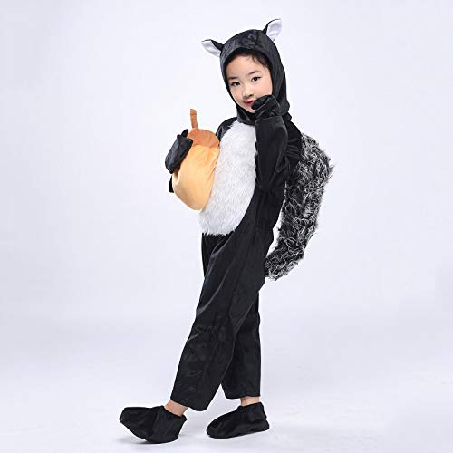Kid Black Squirrel Costume Child Animal Jumpsuit Cosplay Fancy Dress Halloween Outfit (Squirrel, M) ()