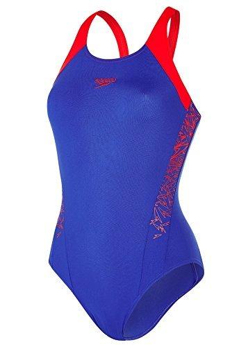 0115566667 Speedo Women Boom Splice Muscle Back Swimsuit, Blue (Ultramarine/Lobster),6