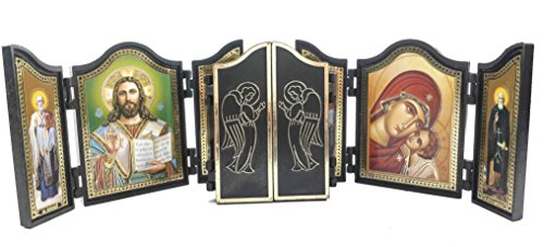 THREE 3 Various Triptych Open Up Icons Christian Iconic Saints JERUSALEM GIFT