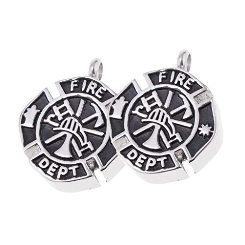 (2 Pcs Metal Fire Fighter Memorial Cremation Pendant Urn Holder Keepsake Necklace Jewelry Crafting Key Chain Bracelet Pendants Accessories Best)