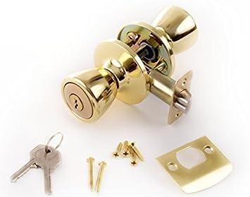 Gold Lion Locks LIO0107 Tulip Keyed Entry Door Knob Polished Brass