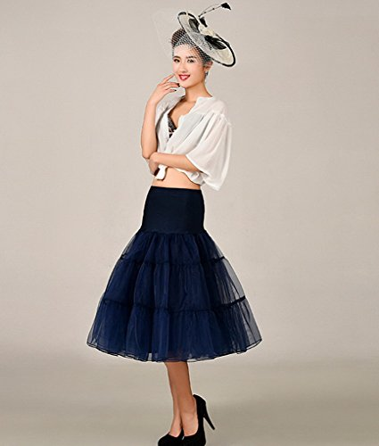 Evedaily - Enaguas cortas - para mujer azul marino