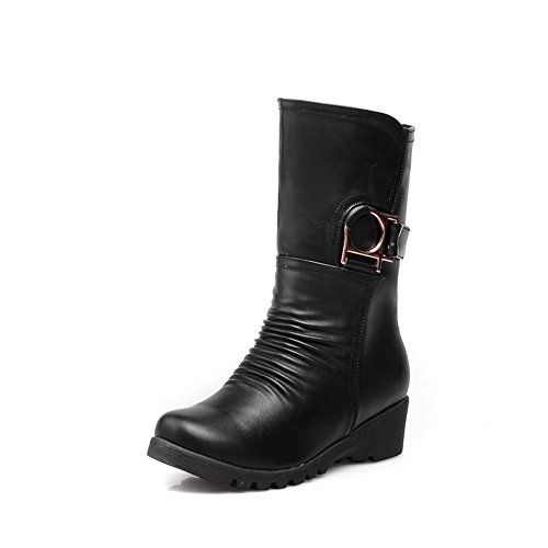 on Women's PU Pull AmoonyFashion Low Low top Boots Heels Solid Black wBdE4Fq