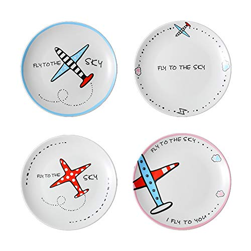 Circular Ceramic Plate Cartoon 4PCS Pattern Breakfast Steak Cake Noodle Cheese Salad Sushi White Kids Dish and Creative Airplane Hand-painted Dish Household the Surface Is Smooth and Easy To Clean Bracelet White Salad Plate