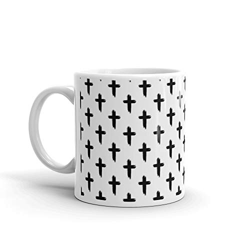 Seamless Pattern With Christian Crosses On White Background Scary Halloween Wallpaper Rough Brush Painted Backdrop Ink Gr Rest In Peace Coffee Mug Cups Ceramic 11 -