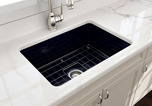 (Sotto Undermount Fireclay 27 in. Single Bowl Kitchen Sink with Protective Bottom Grid and Strainer in Sapphire Blue)