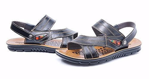 Sommer Das neue Strand Schuh Männer Echtleder Sandalen Echtleder Atmungsaktiv Freizeit Schuh Männer Große Größe Sandalen ,schwarz,US=7.5,UK=7,EU=40 2/3,CN=41