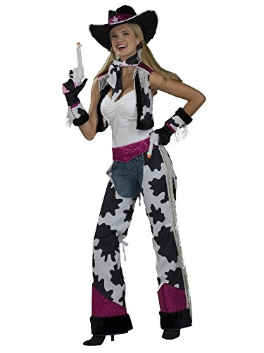 Forum Novelties Women's Glamour Cowgirl Costume, Black/White/Pink, (Cowgirl Chaps Costume)