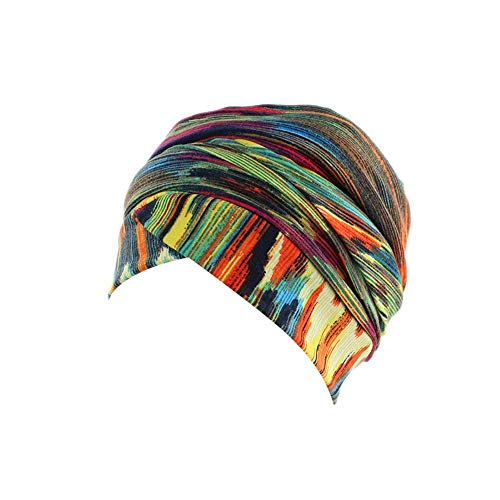 Londony ♥ Newest Hats & Caps,Ladies Striped Pattern Cross Front Muslim Turban Caps Women Chemo Cancer Hair Loss Hat from Londony
