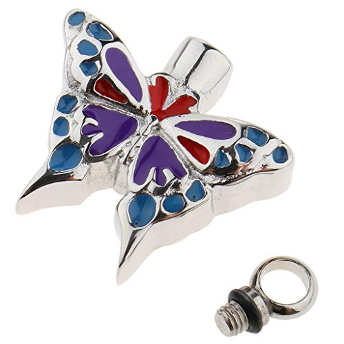 (Cremation Jewelry Ashes Locket Enamel Butterfly Urn Pendant Stainless Steel Necklace Jewelry Crafting Key Chain Bracelet Pendants Accessories Best)