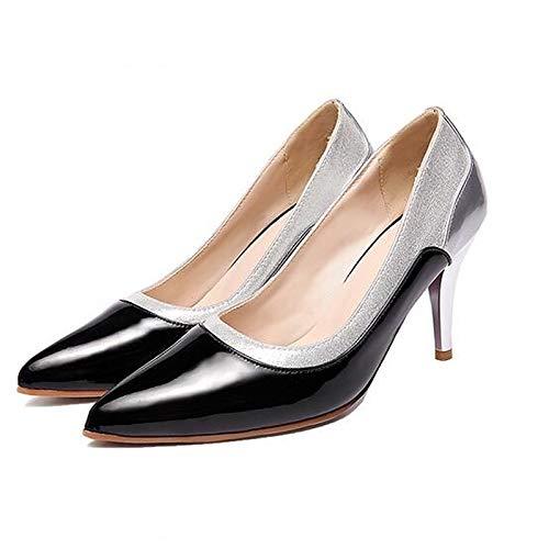 Poliuretano PU Negro Confort Primavera Mujer QOIQNLSN De Zapatos Stiletto Rojo Almendra Tacones Black Talón IUwFnB