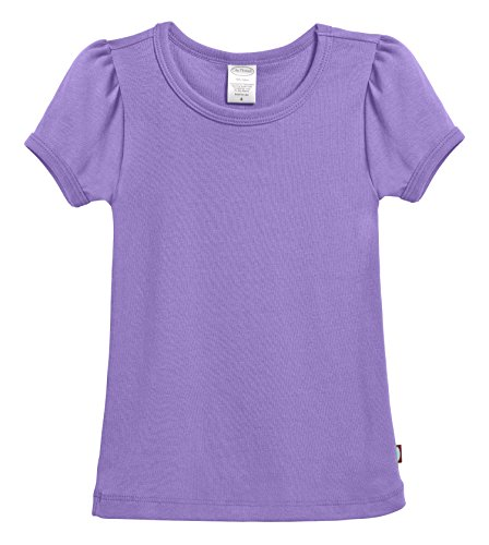 City Threads Little Girls' Baby Rib Cotton Short Sleeve Puff Fashion Shirt Tee Tshirt Blouse, Deep Purple, 7 by City Threads (Image #4)