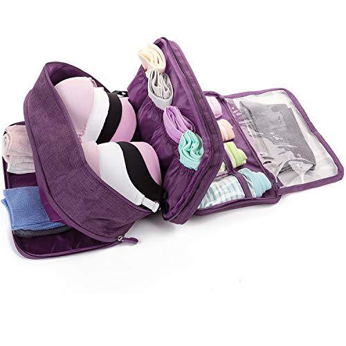 MODARANI Travel Bra Organizer Lingerie Packing Cube Overnight Toiletry Bag Purple