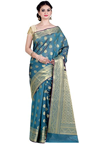 Green Silk Saree - Chandrakala Women's Sea Green Cotton Silk Blend Banarasi Saree,Free Size(8879)