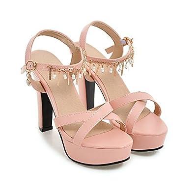 CXQ-Sandales QIN&X La Place des Femmes Bloc Toe Heels,34,Rose
