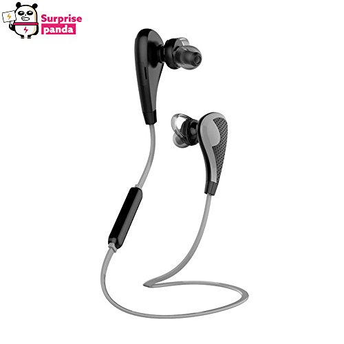 Surprise Panda (TM) - Wireless Bluetooth Headphones Noise Cancelling Headphones w/ Microphone Sports / running & Gym / Exercise Mini Lightweight Wireless Stereo Headset for iPhone 6 , 6 plus , 5 5c 5s 4s 4 , iPad 2 3 4 & Android -(Gray)