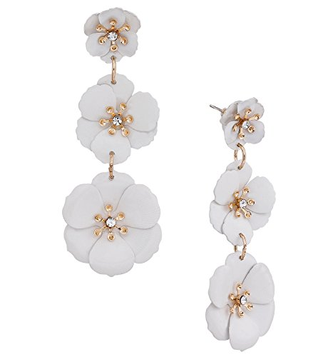 Earrings Crystal Flower Drop (NVENF Flower Drop Earrings Triple Metal Matte Flower Dangle Earrings Petal Pierced Earrings for Women(White))