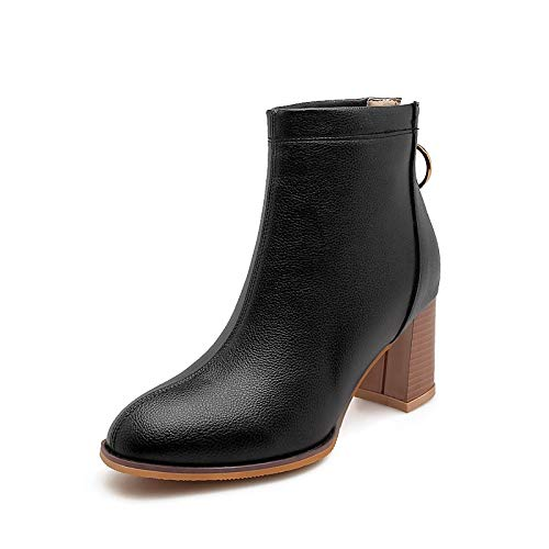 Black US8   EU39   UK6   CN39 Black US8   EU39   UK6   CN39 Women's shoes PU Fall & Winter Fashion Boots Boots Chunky Heel Round Toe Booties Ankle Boots White Black   Beige Party & Evening
