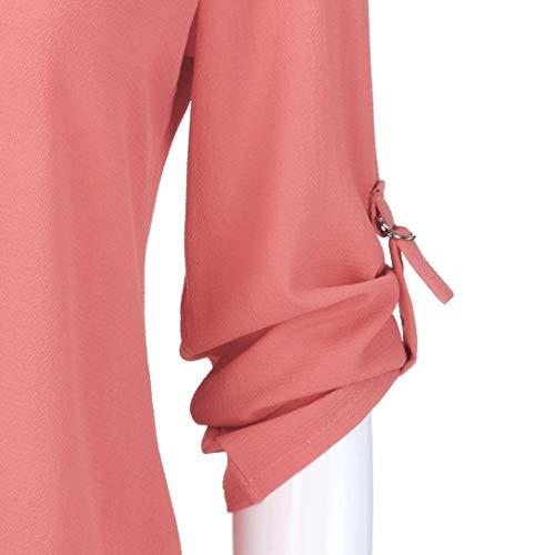 T Manica Lunghe top Scollo Con Da A Shirt In Rosso Cappuccio E Lunga Bluse Maniche Chiffon Camicia Donna maglie yanhoo Camicie Donna Donna V Lunghe Felpe fwqgU