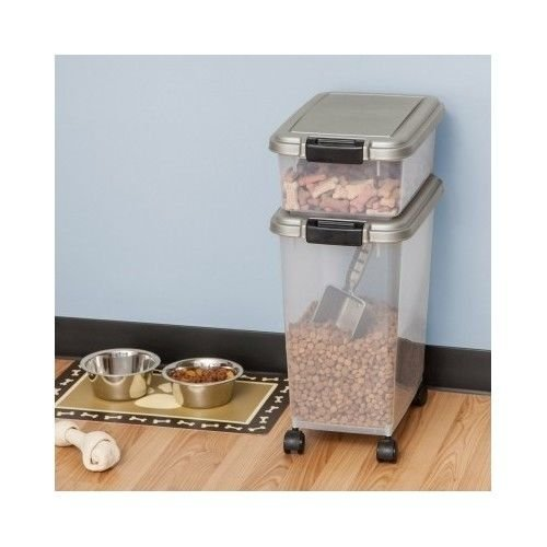 Pet Food Storage Container Air Tight Dog Cat Dry Bin Rolling Wheels Feed Scoop